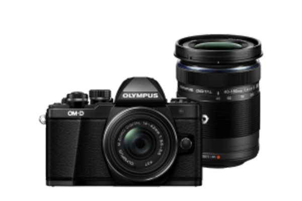 Olympus E-M10II Double Zoom Kit Sort m. EZ-M14-42mm IIR Sort + EZ-M40-150mm R Sort