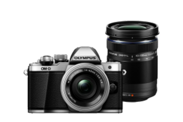 Olympus E-M10II Double Zoom Kit Sølv m. EZ-M14-42mm IIR Sølv + EZ-M40-150mm R Sort
